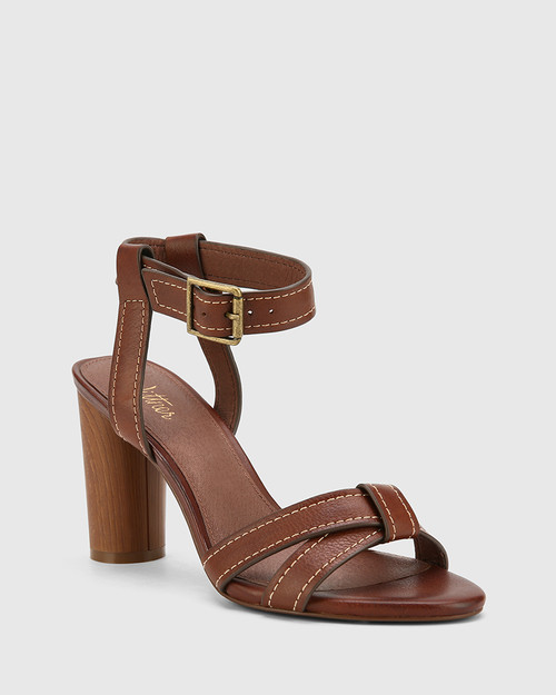 Randall Cedar Leather Block Heel Sandal.