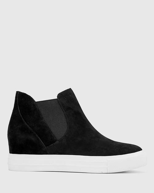 Sanders Black Suede Leather Slip On Wedge Sneaker