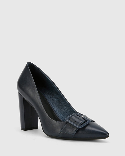 Hamzel Riveria Blue Nappa Leather Buckle Block Heel