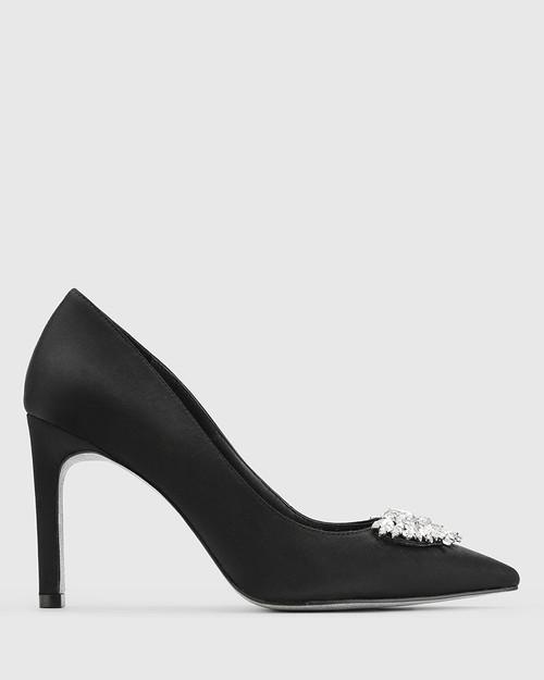 Henshaw Black Satin Embelished Stiletto Heel. & Wittner & Wittner Shoes