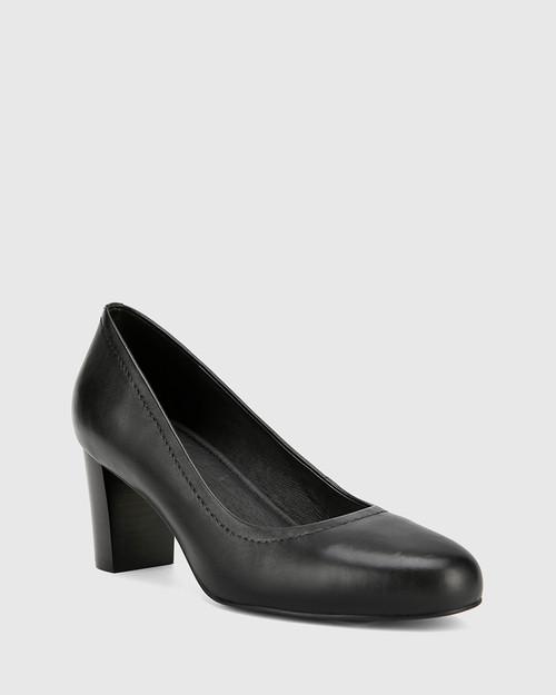 Keaton Black Leather Block Heel Almond Toe Pump. & Wittner & Wittner Shoes