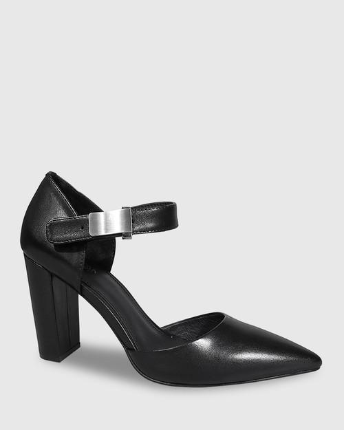 Heide Black Leather Pointed Toe Block Heel.