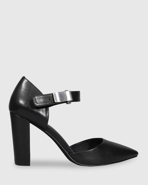 Heide Black Leather Pointed Toe Block Heel. & Wittner & Wittner Shoes