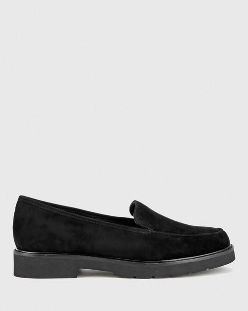 Dee Black Suede Round Toe Slip On Loafer. & Wittner & Wittner Shoes