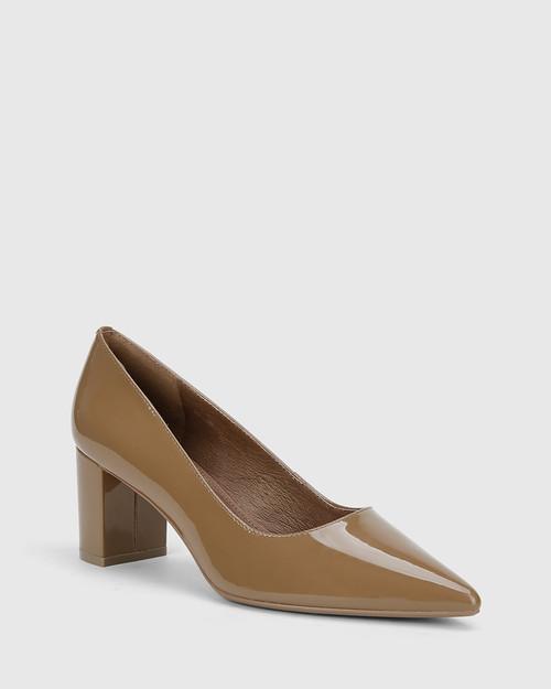 Dalena Mocha Patent Pointed Toe Block Heel