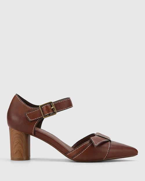 Decima Cedar Leather Pointed Toe Block Heel. & Wittner & Wittner Shoes
