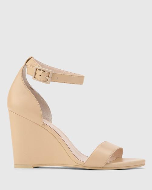 Remina Ecru Nappa Leather Wedge Heel Sandal. & Wittner & Wittner Shoes