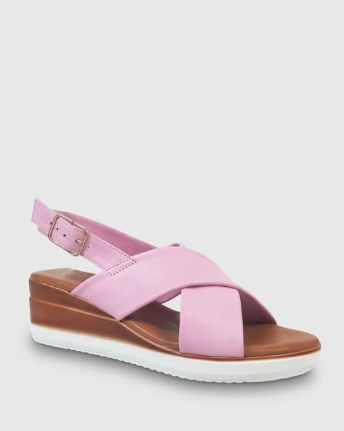 Kila Pink Leather Slingback Wedge
