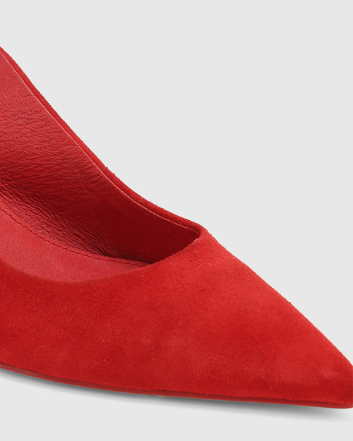 Naila Red Suede Diamonte Slingback Kitten Heel.