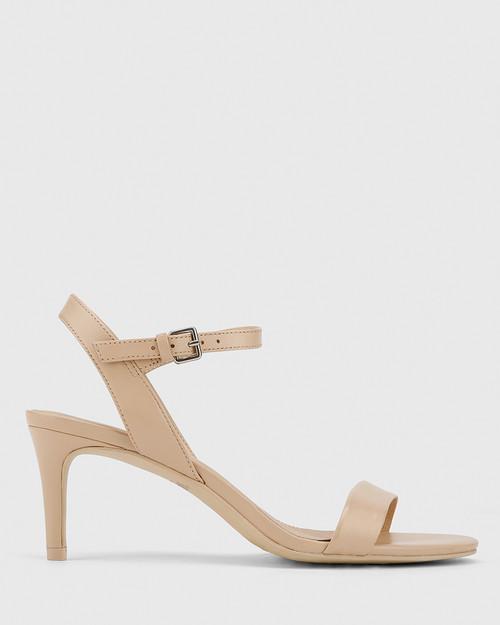 Nyra Ecru Nappa Leather Kitten Heel Sandal. & Wittner & Wittner Shoes