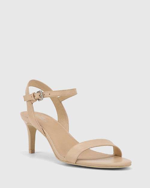 Nyra Ecru Nappa Leather Kitten Heel Sandal.