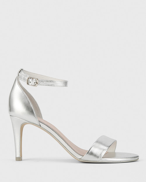 Imina Silver Leather Ankle Strap Stiletto Heel Sandal. & Wittner & Wittner Shoes
