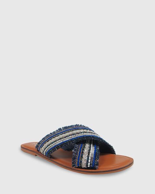 Ivanna Navy Beads Crossover Flat Slide. & Wittner & Wittner Shoes
