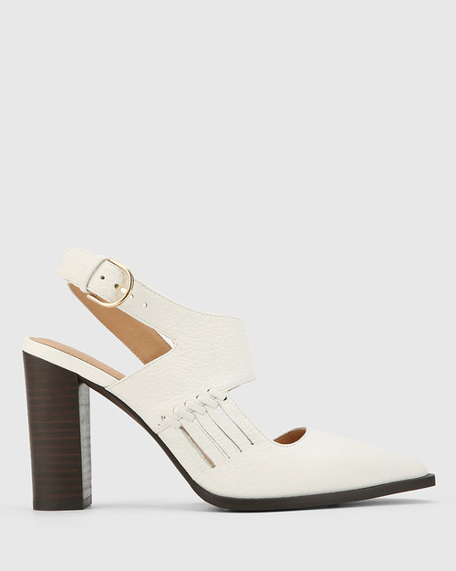 Holdo White Leather Block Heel Pointed Toe Pump.