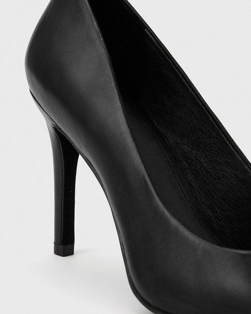 Harman Black Leather Pointed Toe Stiletto Heel