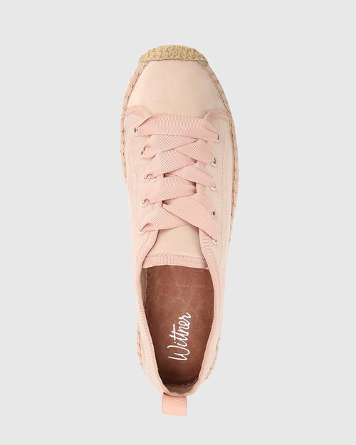 Arnett Pink Satin Espadrille Platform Sneaker. & Wittner & Wittner Shoes