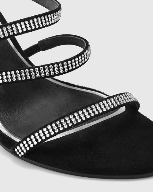 Rosalina Black Suede Silver Diamonte Open Toe Heel. & Wittner & Wittner Shoes