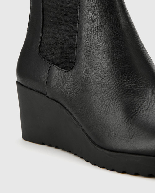 Patt Black Leather Wedge Round Toe Ankle Boot