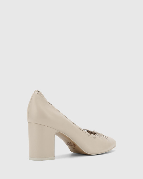 Guava Fog Grey Leather Block Heel Pump.