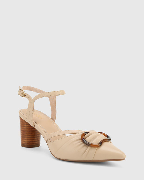 Daelyn Ecru Nappa Leather Block Heel.