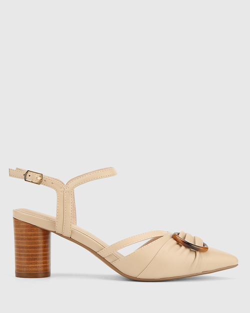 Daelyn Ecru Nappa Leather Block Heel