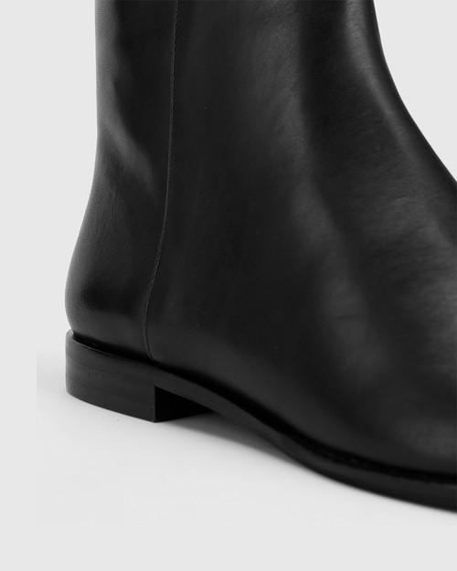 Brenson Black Leather Low Ankle Boot. & Wittner & Wittner Shoes