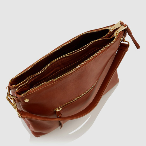 Barett Cognac Leather Large Double Pocket Shoulder Bag