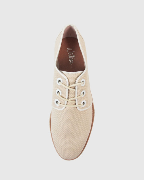Manual Nude Woven Fabric Brogue. & Wittner & Wittner Shoes