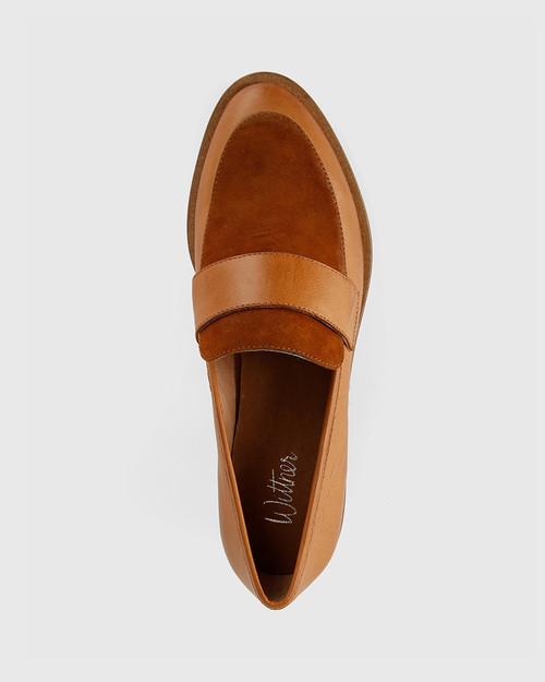 Fallon Tobacco Leather Almond Toe Loafer. & Wittner & Wittner Shoes