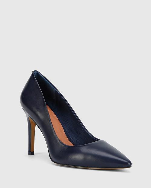 Harman Oxford Blue Nappa Leather Pointed Toe Stiletto Heel.