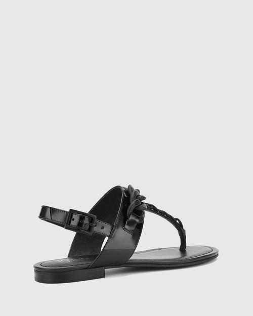 Cavannah Black Patent Leather With Trim Slide. & Wittner & Wittner Shoes