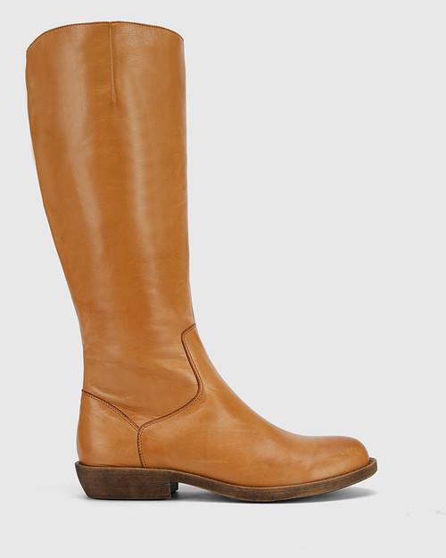 Devanna Cognac Leather Round Toe Flat Boot .