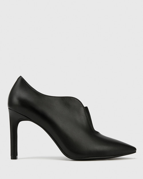 Haddison Black Leather Pointed Toe Stiletto Heel Bootie. & Wittner & Wittner Shoes