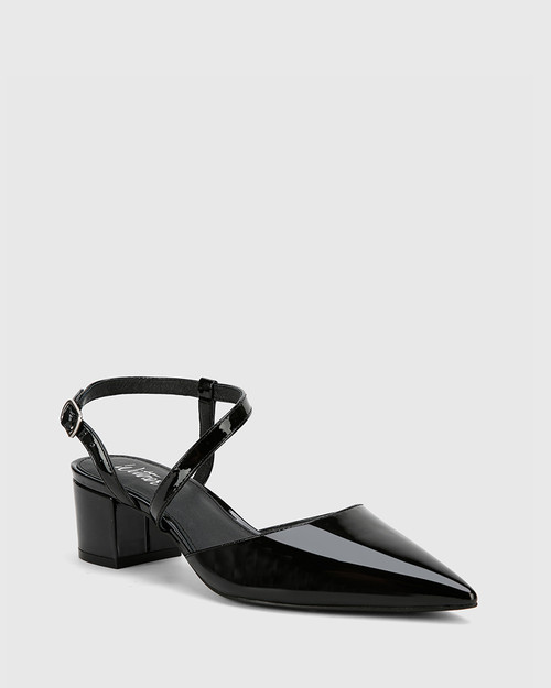 Grammy Black Patent Leather Pointed Toe Block Heel. & Wittner & Wittner Shoes