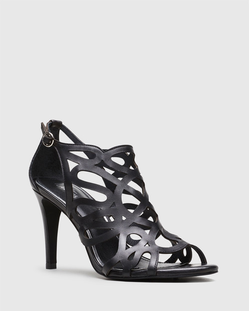 Royalle Black Laser Cut Leather Stiletto Heel.