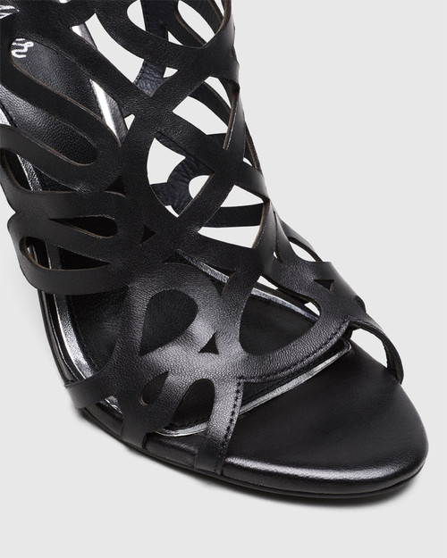 Royalle Black Laser Cut Leather Stiletto Heel. & Wittner & Wittner Shoes