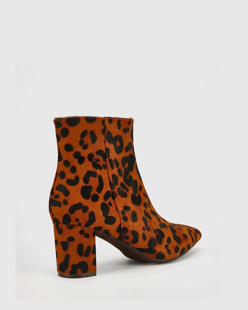Deja Dark Brown Leopard Printed Hair On Leather Block Heel Ankle Boot. & Wittner & Wittner Shoes