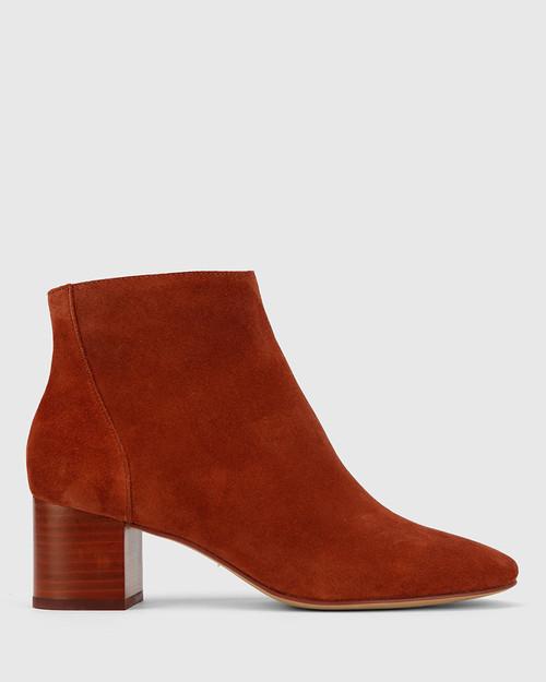 Alsen Rust Suede Block Heel Almond Toe Ankle Boot.