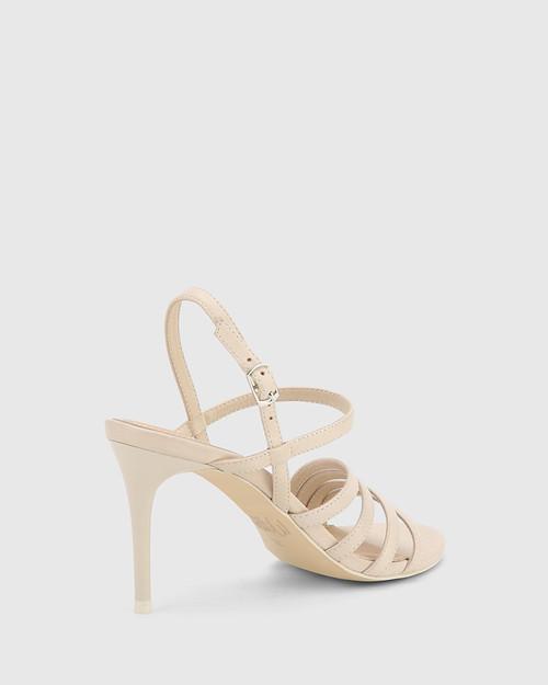 Izarra Ivory Leather Open Toe Stiletto Heel Sandal. & Wittner & Wittner Shoes
