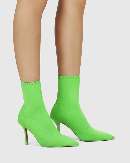 Qadira Kermit Green Recycled Flyknit Pointed Toe Ankle Boot