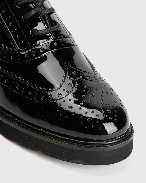 Dexley Black Patent Leather Wingtip Lace Up Brogue. & Wittner & Wittner Shoes
