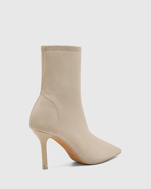 Qadira New Beige Recycled Knit Pointed Toe Ankle Boot & Wittner & Wittner Shoes