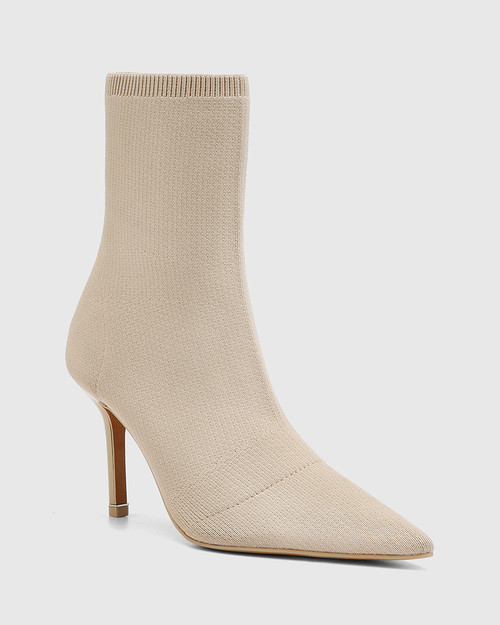 Qadira New Beige Recycled Flyknit Pointed Toe Ankle Boot