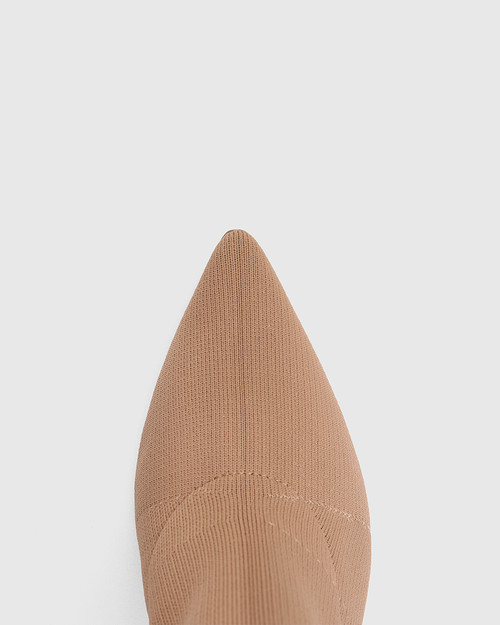 Hada Sunkissed Tan Recycled Knit Stiletto Heel Long Boot & Wittner & Wittner Shoes