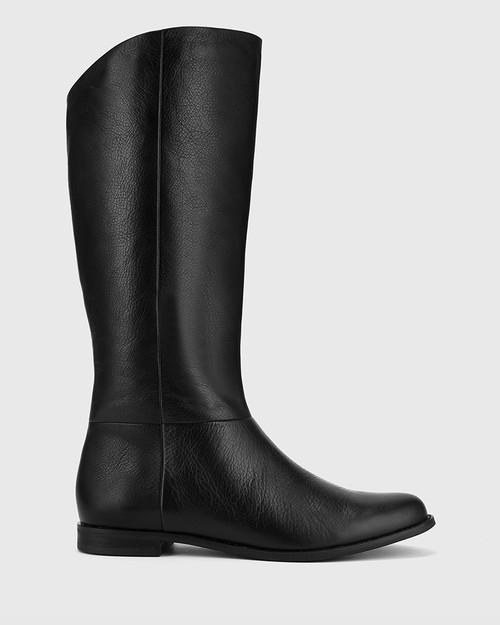 Bindigo Black Scotch Leather Pull On Long Boot. & Wittner & Wittner Shoes