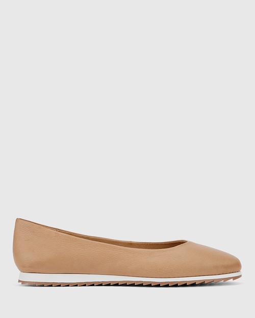 Bindi Natural Leather Round Toe Slip On Flat