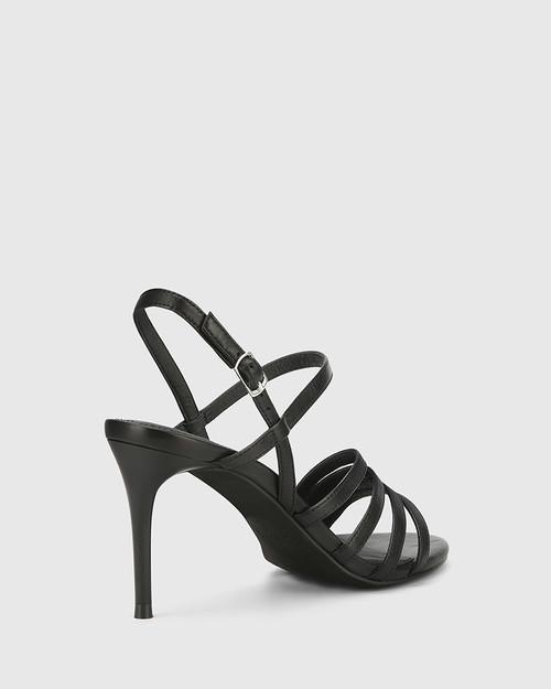 Izarra Black Leather Open Toe Stiletto Heel Sandal. & Wittner & Wittner Shoes