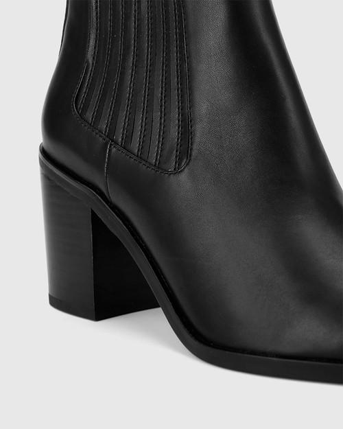 Parton Black Leather Elastic Gusset Block Heel Ankle Boot.