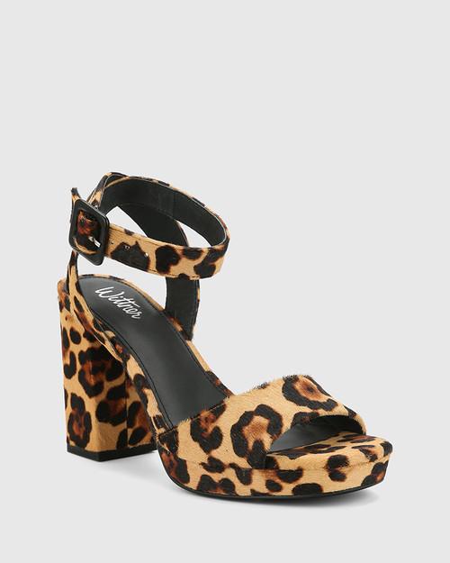 Pasco Leopard Print Hair-on Leather Open Toe Block Heel.