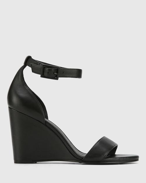 Remina Black Leather Wedge Heel Sandal. & Wittner & Wittner Shoes